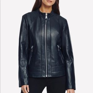 DKNY moto jacket M size leather genuine zip up